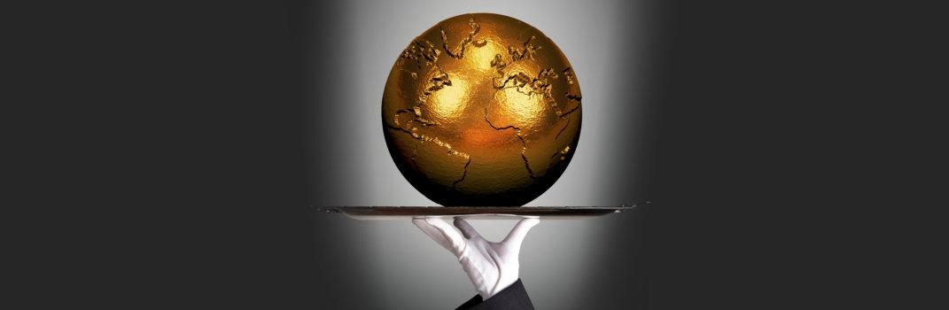 world globe gold