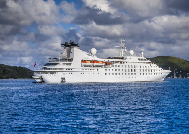cruise ship off the BVI island of Virgin Gorda