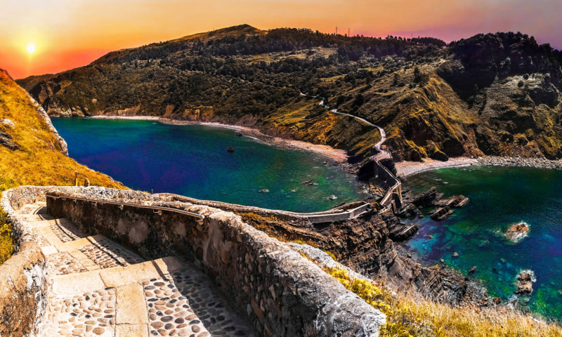Scenic landscape of San Juan de Gaztelugatxe, Basque Country, Spain. Beauty, game.